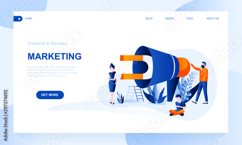 Photo  Marketing vector landing page template with header