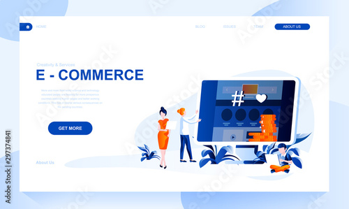 Fotomural  E-commerce vector landing page template with header