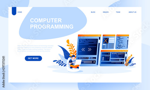 Valokuva  Computer programing vector landing page template with header