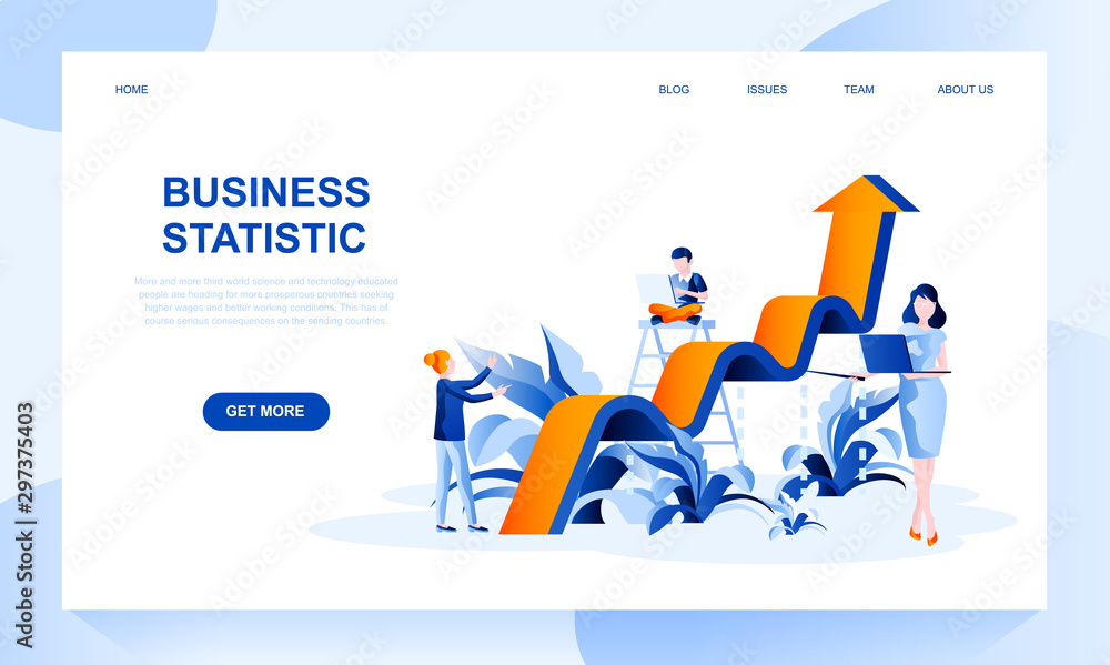 Fototapeta Business statistics vector landing page template with header. Financial research web banner, homepage design with flat illustrations