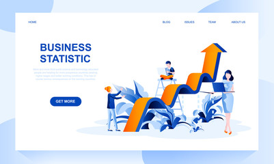 Business statistics vector landing page template with header. Financial research web banner, homepage design with flat illustrations