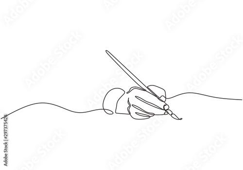 Single line drawing of hand golding art painting brush to make an artwork Wallpaper Mural