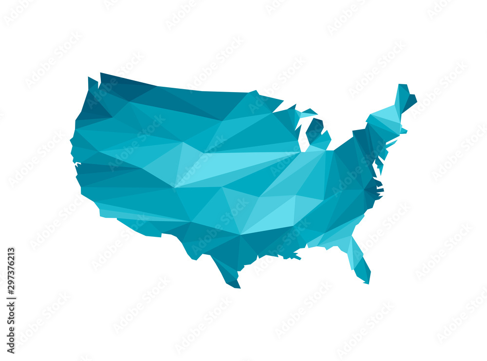 Fototapety, obrazy: Vector isolated illustration icon with simplified blue silhouette of United States of America (US) map. Polygonal geometric style, triangular shapes. White background