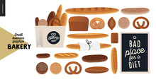 Bakery -small Business Illustrations -various Bread - Modern Flat Vector Concept Illustration Of Various Bread - Wheat, Rye Loaf, Grain,pretzel, Bun, Roll, French Baguette- Constructor Set