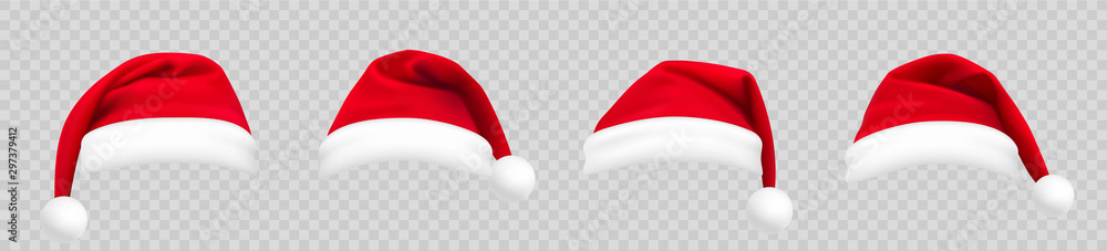 Fototapeta Realistic set of red santa hats. New Year red hat. - stock vector.