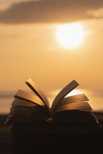 Open Book Bible On Wood Backgr...