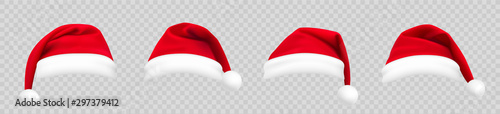 Obraz Realistic set of red santa hats. New Year red hat. - stock vector. - fototapety do salonu