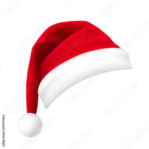 Fototapeta Santa Claus hat isolated on white background. New Year red hat realistic. - stock vector. obraz