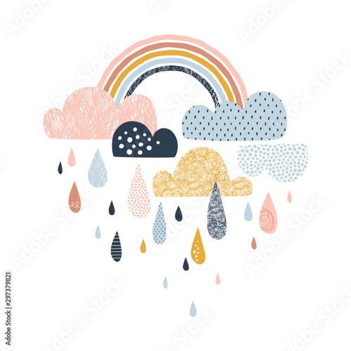 ilustracja-wektorowa-niebo-z-chmurami-kroplami-deszczu-i-teczami-ladny-doodle-dekoracyjny-skandynawski-druk-na-tkaninie-tkaninie-odziezy-dla-dzieci-projekt-przedszkola