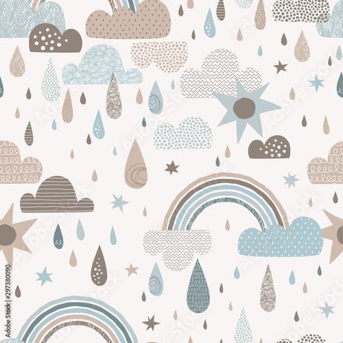 vector-sky-seamless-pattern-with-clouds-rain-drops-rainbow-sun-cute-doodle-decorative
