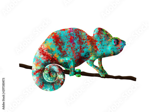 chameleon painted in bright colors