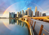 Fototapeta Rainbow - Singapore business district with rainbow - Marina bay