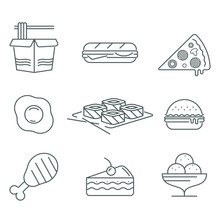 Fast Food Thin Line Icon Set Isolated On White Background, Black Color For Restaurants And Fast Food Bars, For Print, Mobile Applications And Web Design.
