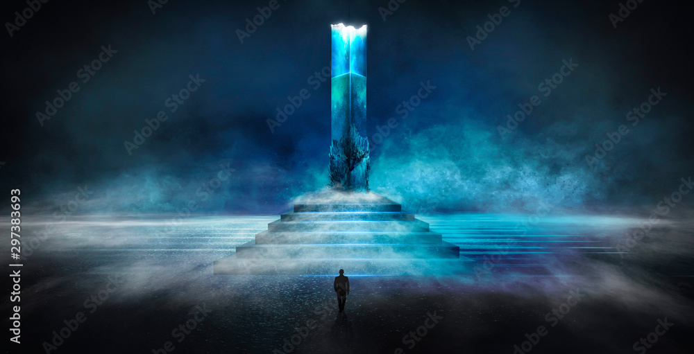 Fototapety, obrazy: Dark abstract futuristic background. Dark Scene. Step up, large magic column, pillar. Blue neon light, concrete floor reflected in water.