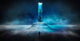 Dark abstract futuristic background. Dark Scene. Step up, large magic column, pillar. Blue neon light, concrete floor reflected in water.