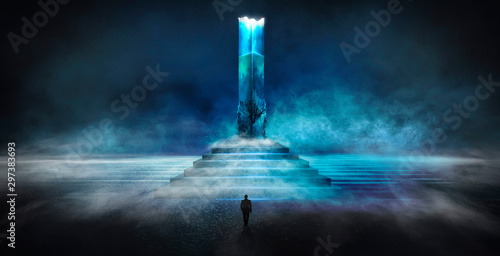 Foto auf Gartenposter Abstrakte Welle Dark abstract futuristic background. Dark Scene. Step up, large magic column, pillar. Blue neon light, concrete floor reflected in water.