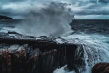 Stormy Waves At Barents Sea, Arctic Ocean. Kola Peninsula, Murmansk Region In Russia