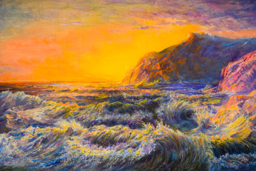 Fototapeta Morze storm at sea, violent waves and sunset in distance.