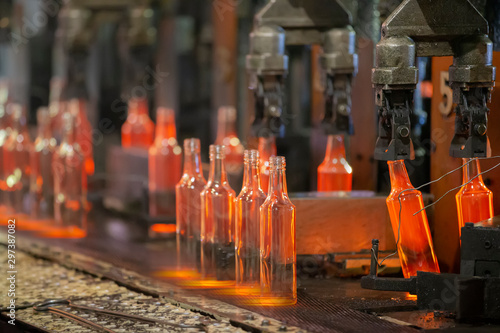 Glassworks. Glass industry. The process of making glass bottles. Canvas Print