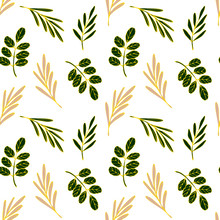 Floral Seamless Pattern Golden...