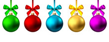 Realistic  Gold, Red, Blue, Purple  Christmas  Balls  With Bow And Ribbon.
