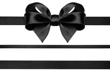 Black Ribbon With Gift Bow Iso...