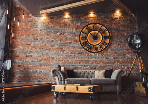 Fotomural  Loft style sitting-room brick and clocks