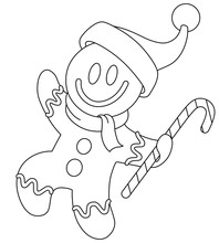 Outlined Gingerbread Man With ...