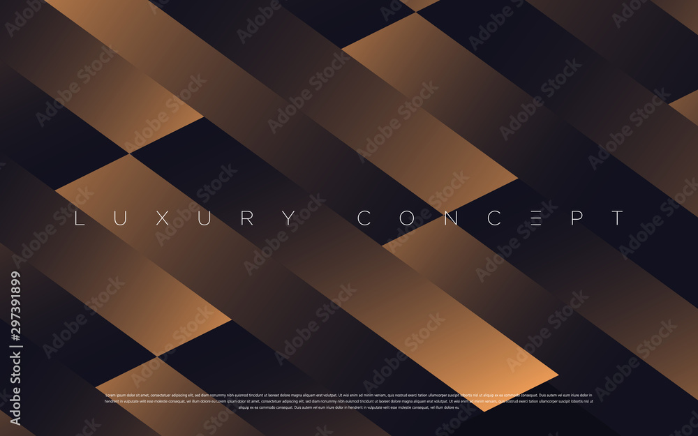 Fototapeta Black premium background with luxury dark golden geometric elements. Rich background for poster, banner, flyer, presentation, web design etc. Vector EPS