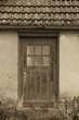 Alte kleine vermooste Holztür, abstrakt old film