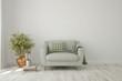 Leinwandbild Motiv Stylish room in white color with sofa. Scandinavian interior design. 3D illustration