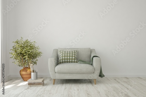 Stylish room in white color with sofa Fototapeta