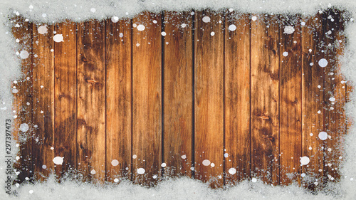 Spoed Foto op Canvas Natuur winter Background - Frame made of snow on wooden texture, top view with space for text