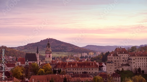 Autumn view of the state chateau Czech Krumlov, view of the city.
