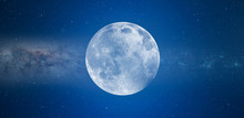 Blue Full Moon Against Milky W...