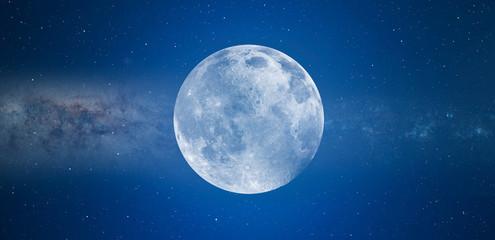 Blue full moon against milky way galaxy