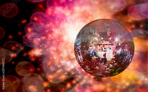 Party lights and disco ball with fireworks - 297400272