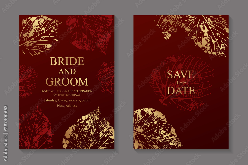 Fototapety, obrazy: Set of luxury floral wedding invitation design or greeting card templates with golden autumn leaves prints on a red background.