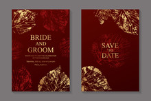 Set Of Luxury Floral Wedding Invitation Design Or Greeting Card Templates With Golden Autumn Leaves Prints On A Red Background.