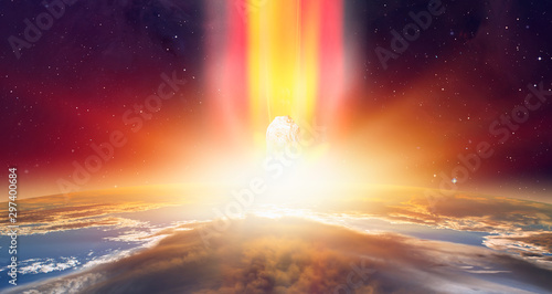 Attack of the asteroid (meteor) on the Earth Elements of this image furnished b Wallpaper Mural