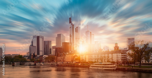Skyline of Frankfurt at sunset -Frankfurt, Germany - Frankfurt is financial center of the Germany