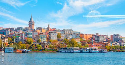 Foto auf Gartenposter Stockholm Galata Tower, Galata Bridge, Karakoy district and Golden Horn at amazing sunset sky - Istanbul, Turkey