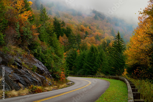 Autumn color on Blue Ridge Parkway, North Carolina, USA Wallpaper Mural