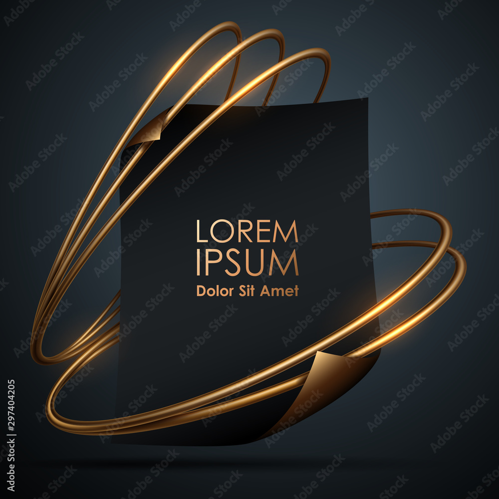 Fototapety, obrazy: Black paper template with golden rings