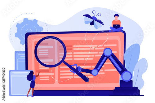 Obraz Laptop and software assisting in testing process, tiny people testers. Automated testing, automotive executed test, software auto tester concept. Pinkish coral bluevector isolated illustration - fototapety do salonu