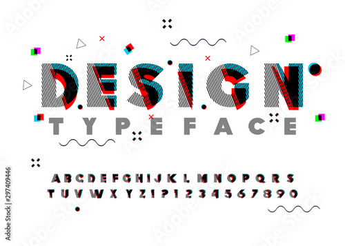 Vector of modern abstract font and alphabet Wallpaper Mural