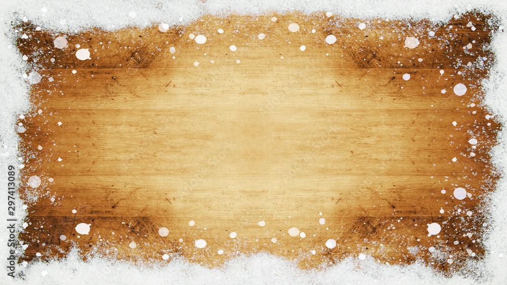Fototapety, obrazy: Rahmen mit Schnee Schneeflocken auf rustikaler Holztextur - Winter/Schnee Hintergrund
