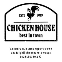 Hand Drawn Vintage Retro Font. Outdoor Advertising Of American Chicken Restaurants And Eateries Inspired Typeface. Textured Unique Brush Script Style Alphabet. Letters And Numbers. Vector Illustration