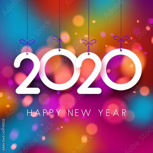 Fototapeta Bright colorful 2020 Happy New Year poster. obraz