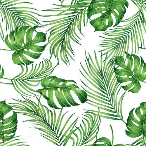 Foto auf Gartenposter Künstlich Watercolor painting monstera,coconut leaves seamless pattern with shadow on white background.Watercolor llustration palm,pink leaf,tree tropical exotic leaf for wallpaper textile vintage Hawaii style.